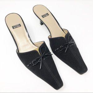 Stuart Weitzman | Black Kitten Heel Mules Thin Bow
